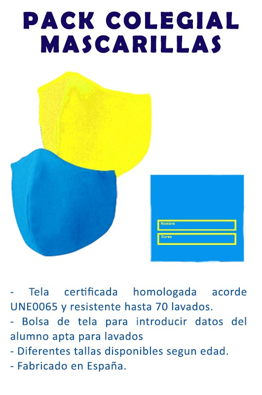 Pack mascarillas + Bolsa portamascarillas - Pack de dos mascarillas de tela reutilizable lavable más bolsa portamascarillas para datos del alumno. Resistente hasta 70 lavados sin perder propiedades protectoras. Tejido  4 tallas disponibles.