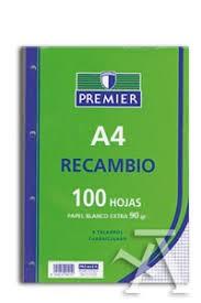 RECAMBIO DE 100 HOJAS PREMIER HORIZONTAL 90 GR TAMAÑO A4  - Medidas: 297 x 210 mm. Formato: Din-A4. Número de Hojas: 100 Hojas. Rayado: Cuadros 4 mm. con margen. 4 Taladros. Papel de 90 g/m2 que te permitirá escribir por ambos lados. Fabricado por TAURO®