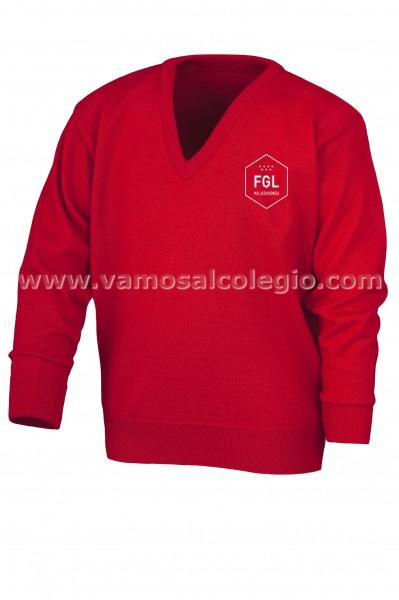 JERSEY ROJO FGL - Jersey de cuello pico con composición 30% Lana y 70% Acrílico. Color oficial del colegio. Bordado del colegio.